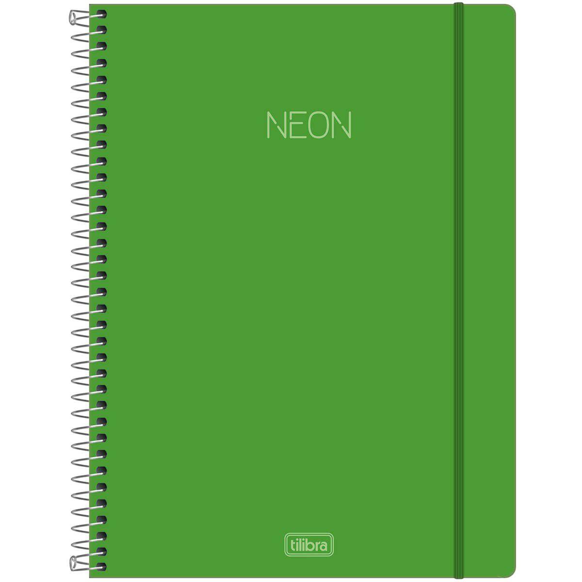 Caderno universitário 1 matéria 80 fls Neon verde Tilibra