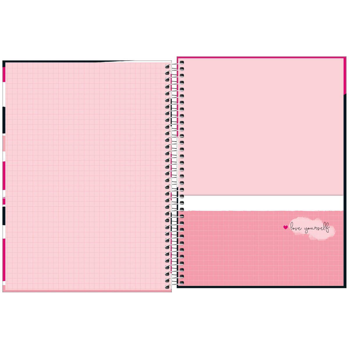 Caderno universitário 20 matérias 320 fls Love Pink Tilibra