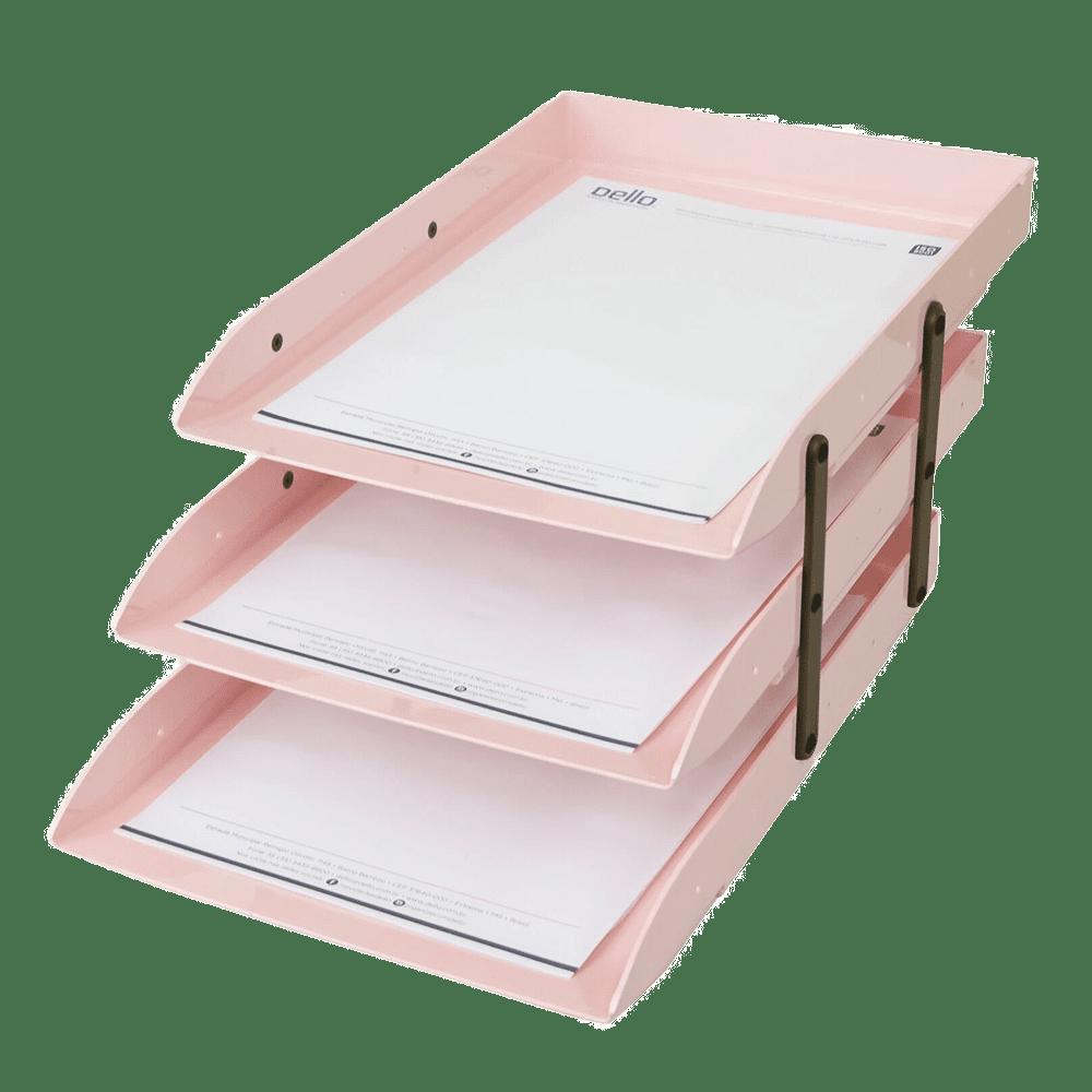 Caixa correspondência tripla articulável rosa claro Dello