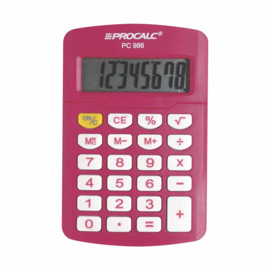 Calculadora 8 dígitos rosa PC986P Procalc
