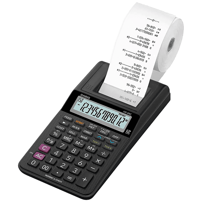 Calculadora de mesa com bobina 12 dígitos HR-8RC-BK Casio