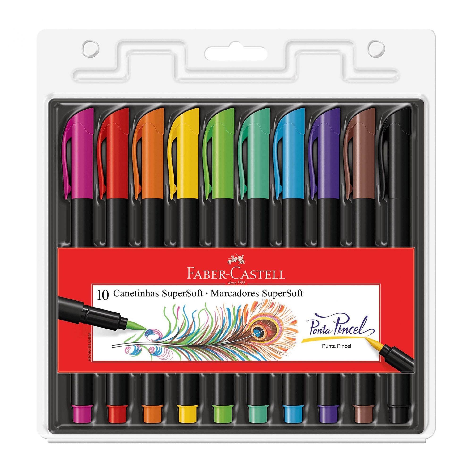 Caneta brush 10 cores Supersoft Faber-Castell