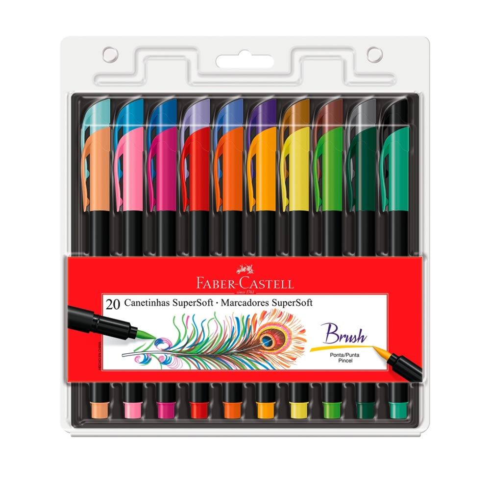 Caneta brush 20 cores Supersoft Faber-Castell