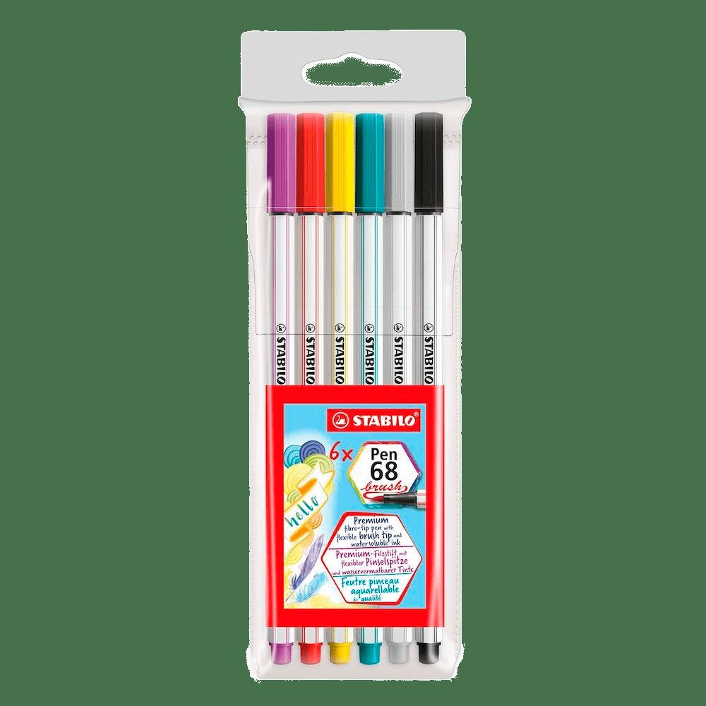 Caneta brush 6 cores POINT 68 Stabilo