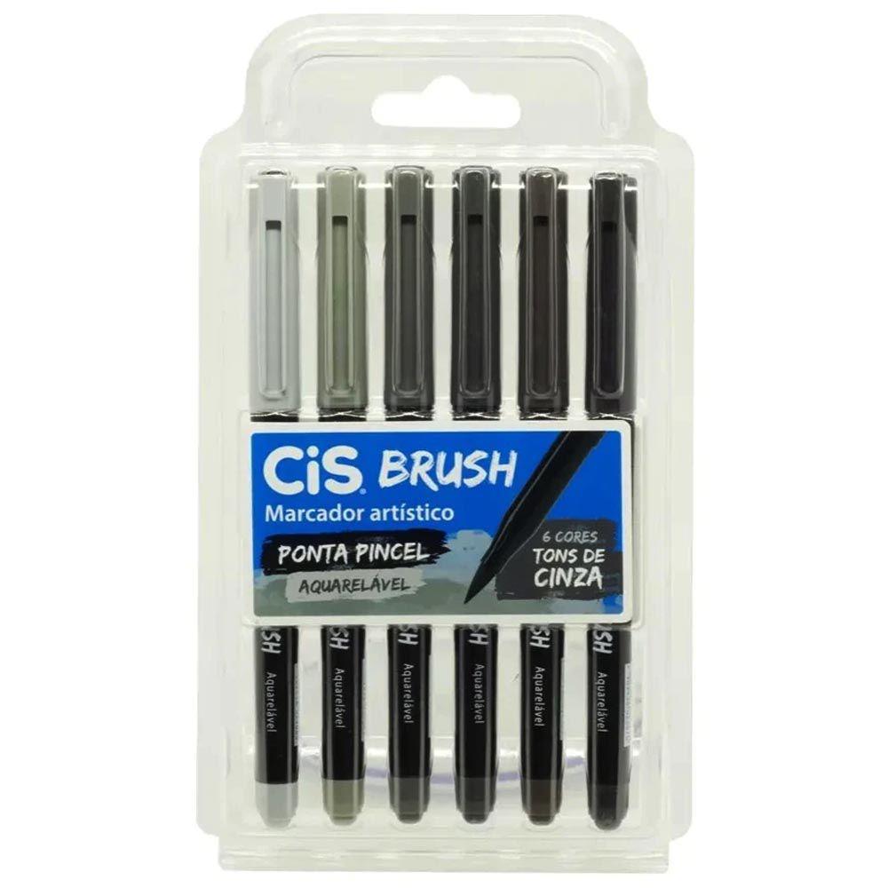 Caneta brush 6 tons de cinza aquarelável Cis