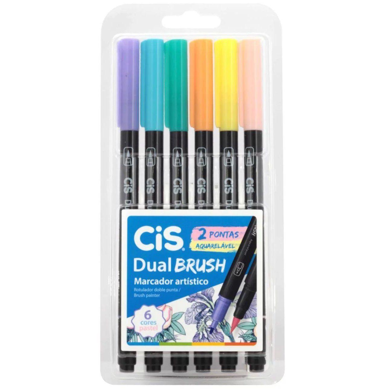 Caneta dual brush 6 cores pastel Cis