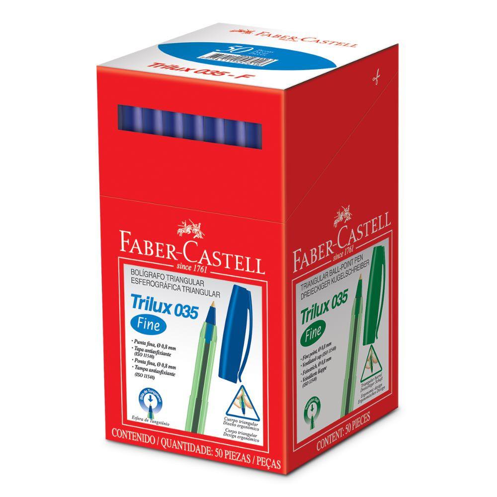 Caneta esferográfica 0.8 azul TRILUX 50 un Faber-Castell