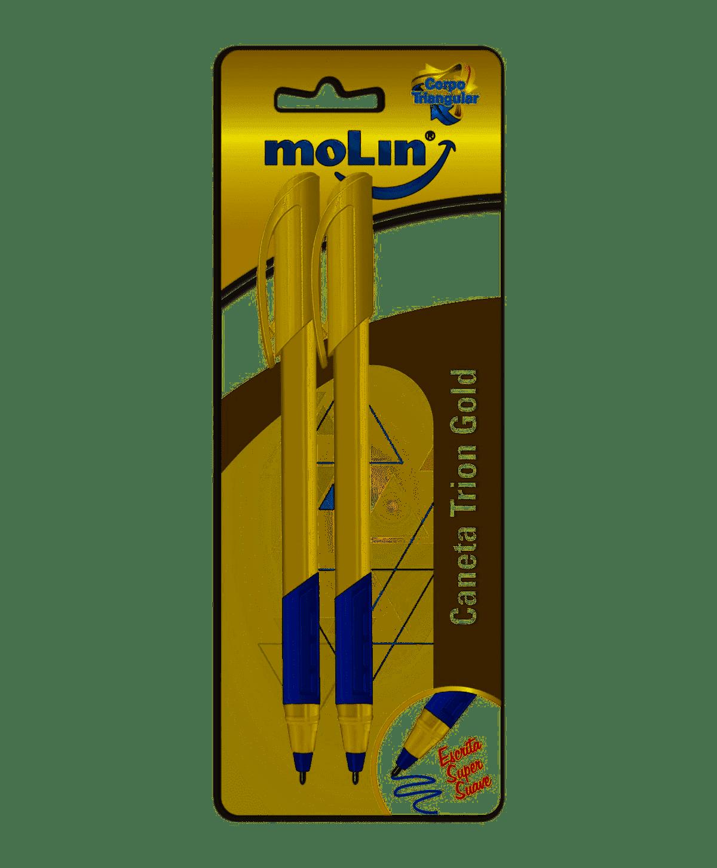 Caneta esferográfica 1.0 2 un azul Trion Gold Molin