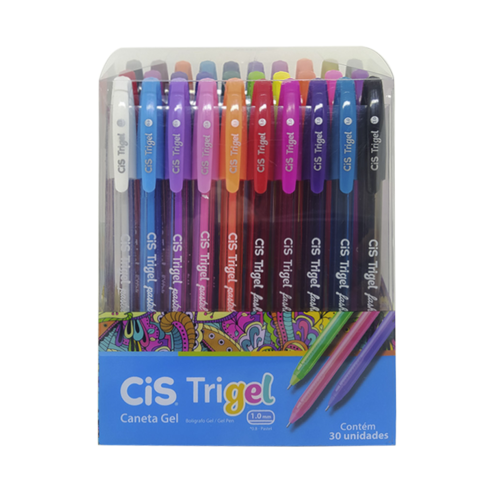 Caneta esferográfica 30 cores Trigel CIS