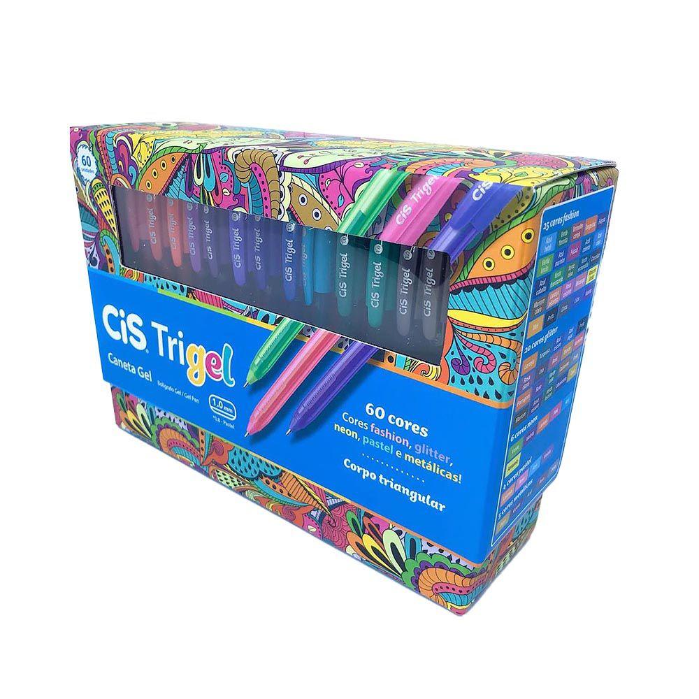 Caneta esferográfica 60 cores Trigel CIS