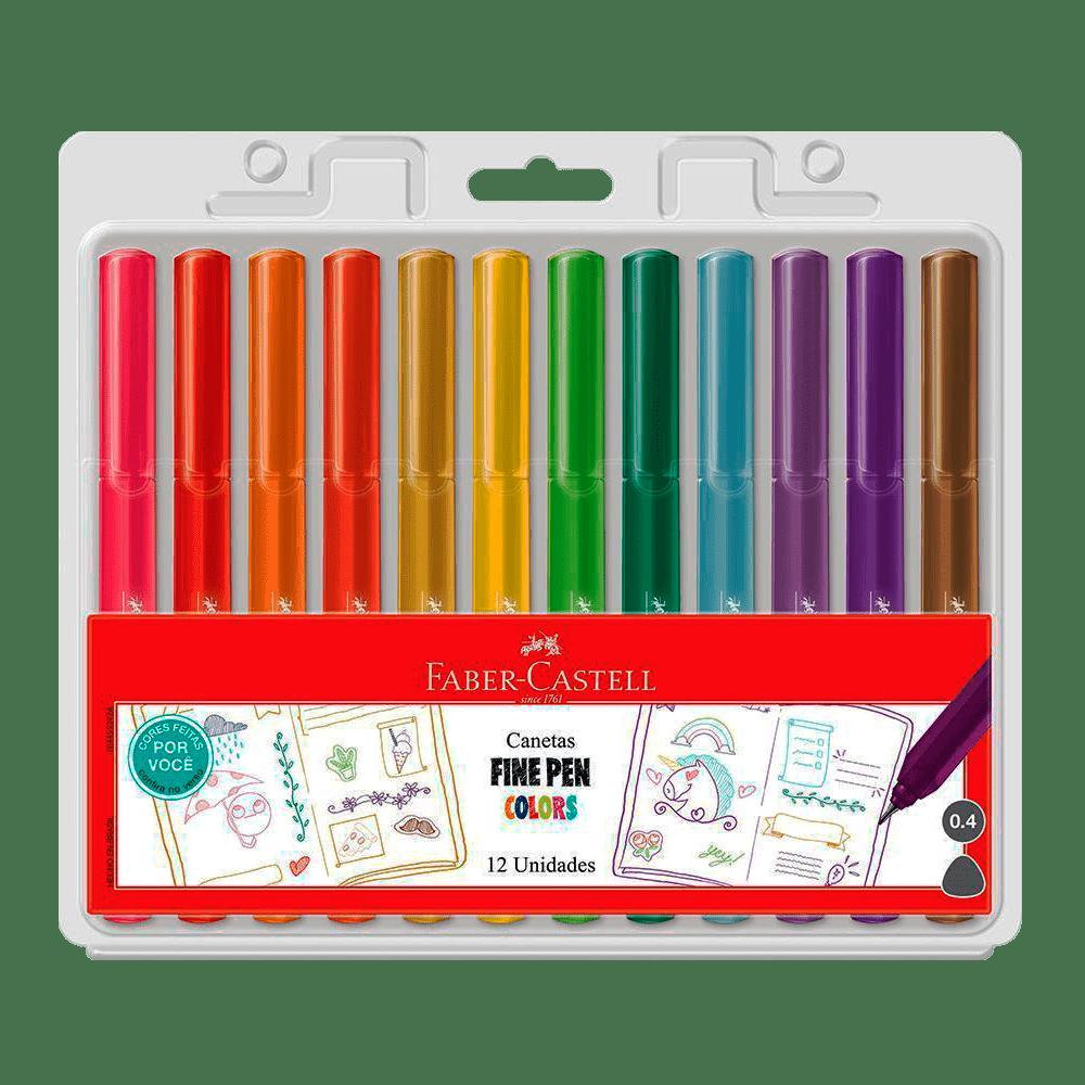 Caneta Hidrográfica 0.4 12 cores FINE PEN Faber-Castell