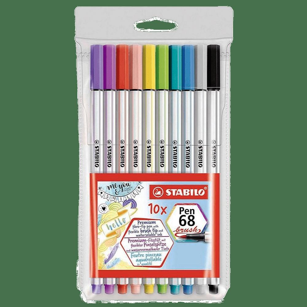 Caneta brush 10 cores POINT 68 Stabilo