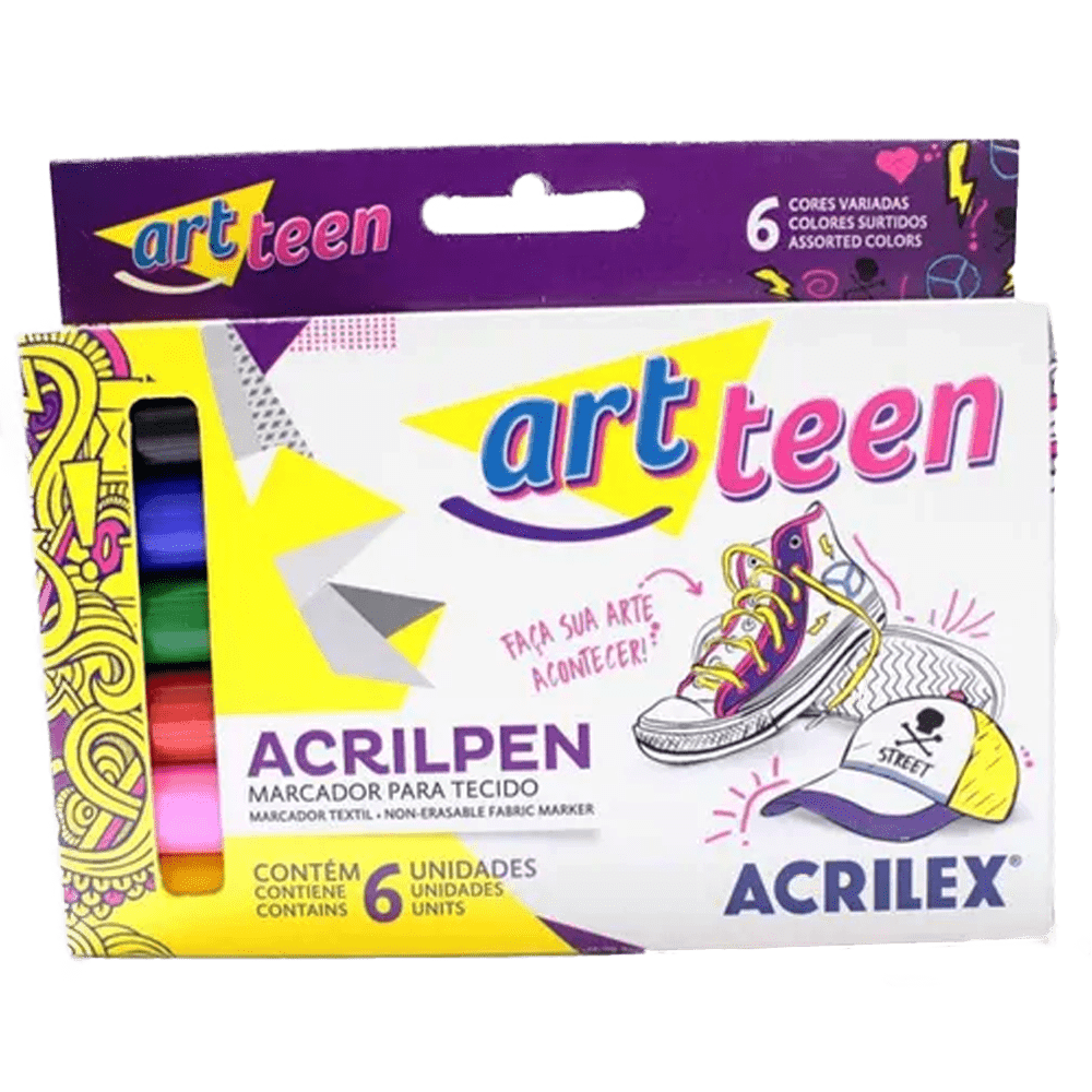Caneta tecido 6 cores Acrilex