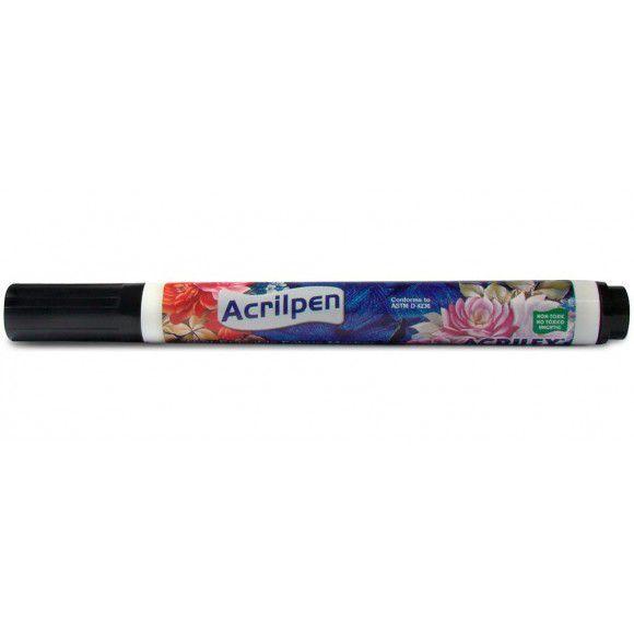 Caneta tecido Preto Acrilex