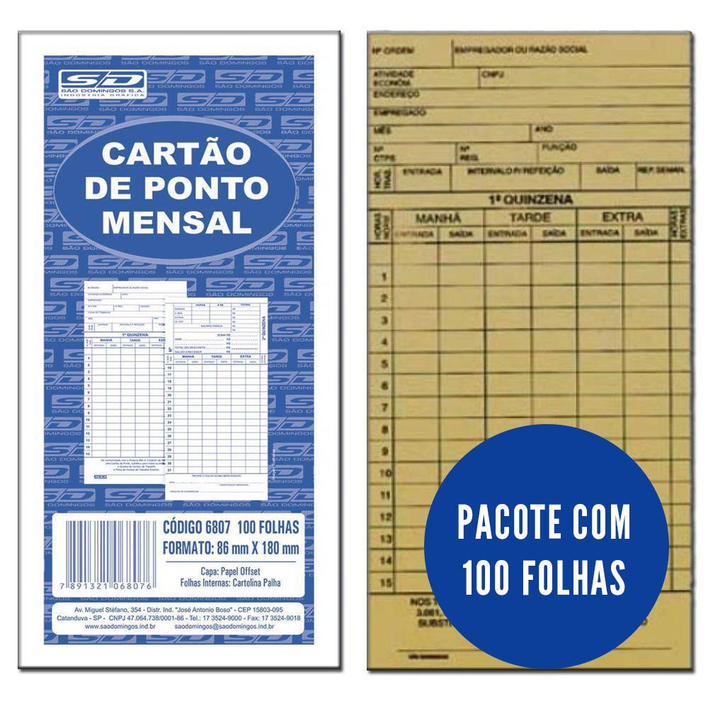 Cartão ponto mensal 100 folhas São Domingos