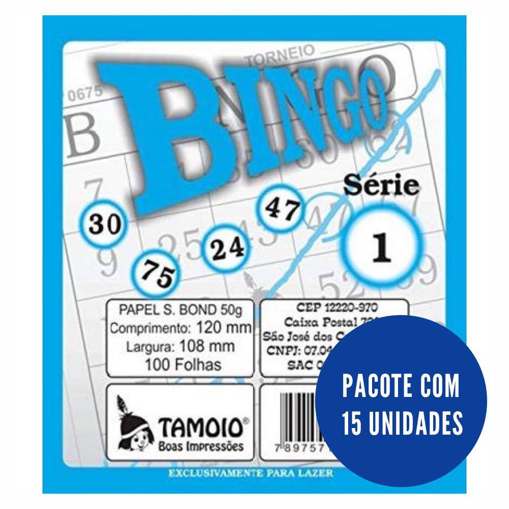 Cartela de bingo 100 folhas azul 15 un Tamoio