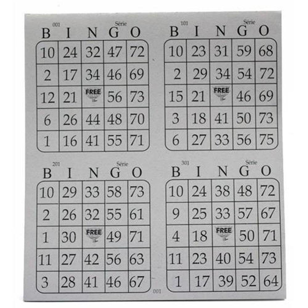 Cartela de bingo 4x1 100 folhas jornal 9 un Guerra