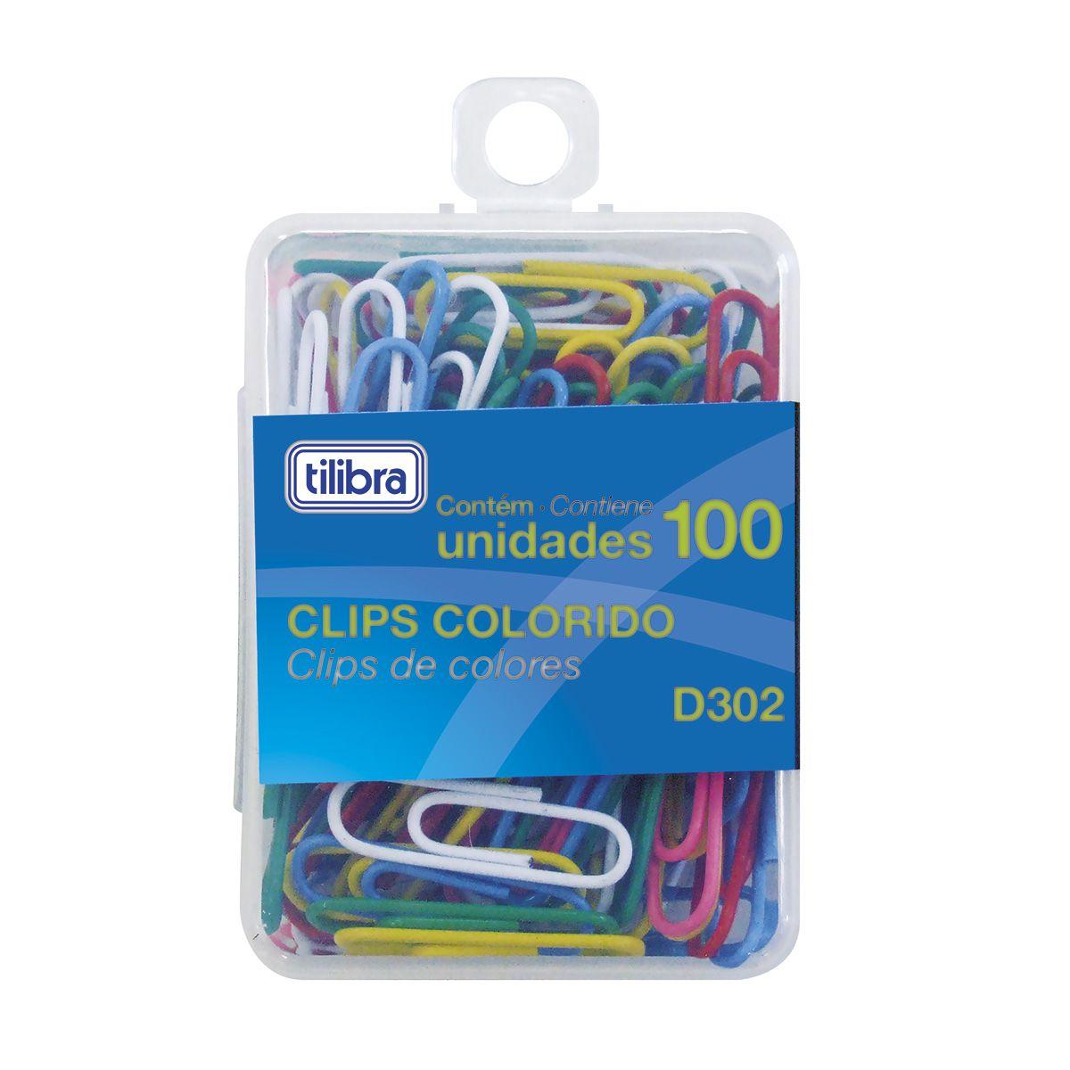 Clips 29mm colorido 100 un D302 Tilibra