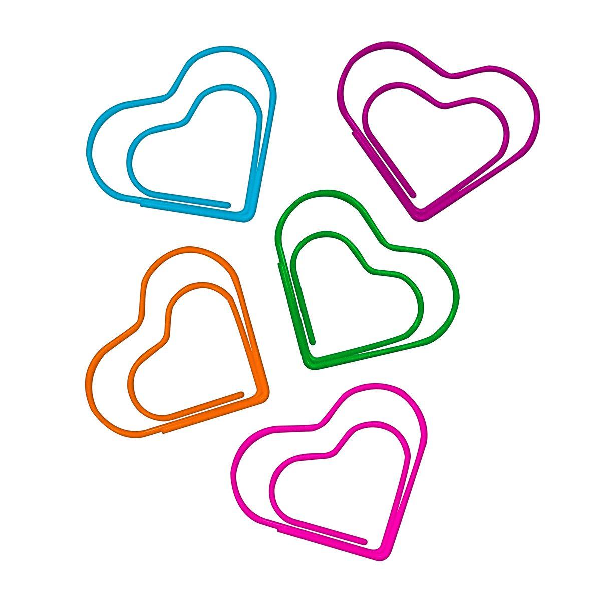 Clips 65mm coração colorido 20 un Tilibra