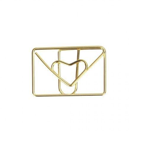 Clips especial envelope love dourado 12 un Molin
