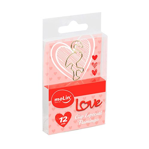 Clips especial flamingo love dourado 12 un Molin