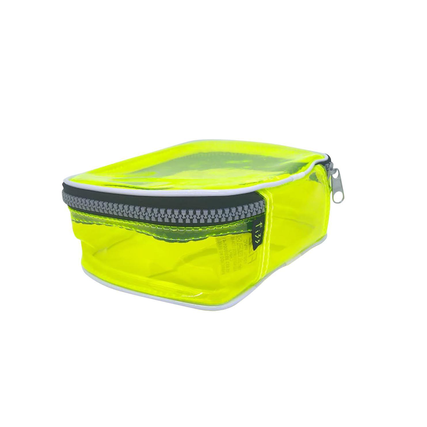 Estojo escolar box amarelo neon transparente Fizz