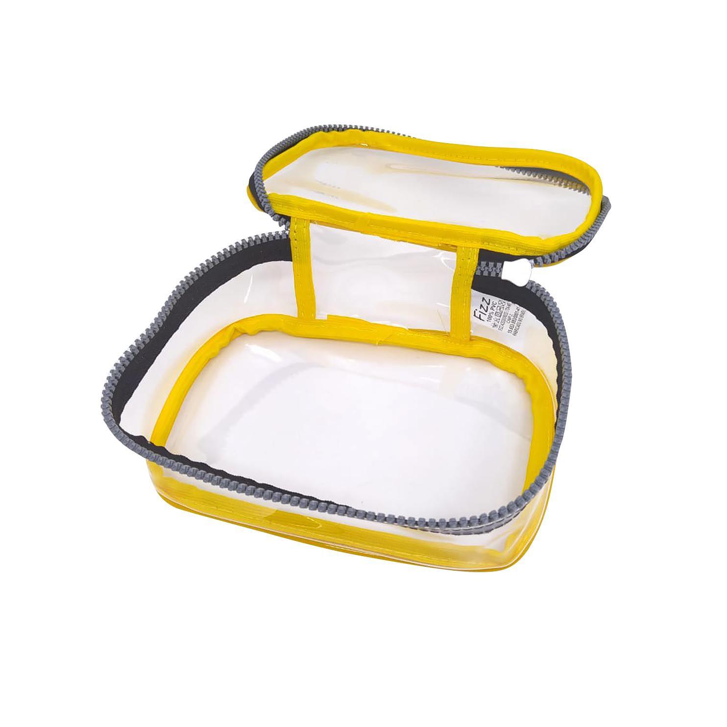 Estojo escolar box amarelo transparente Fizz