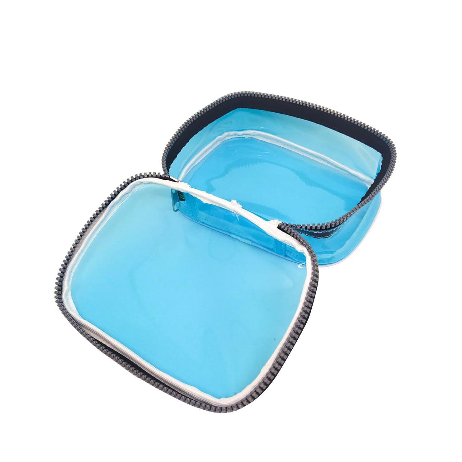 Estojo escolar box azul neon transparente Fizz