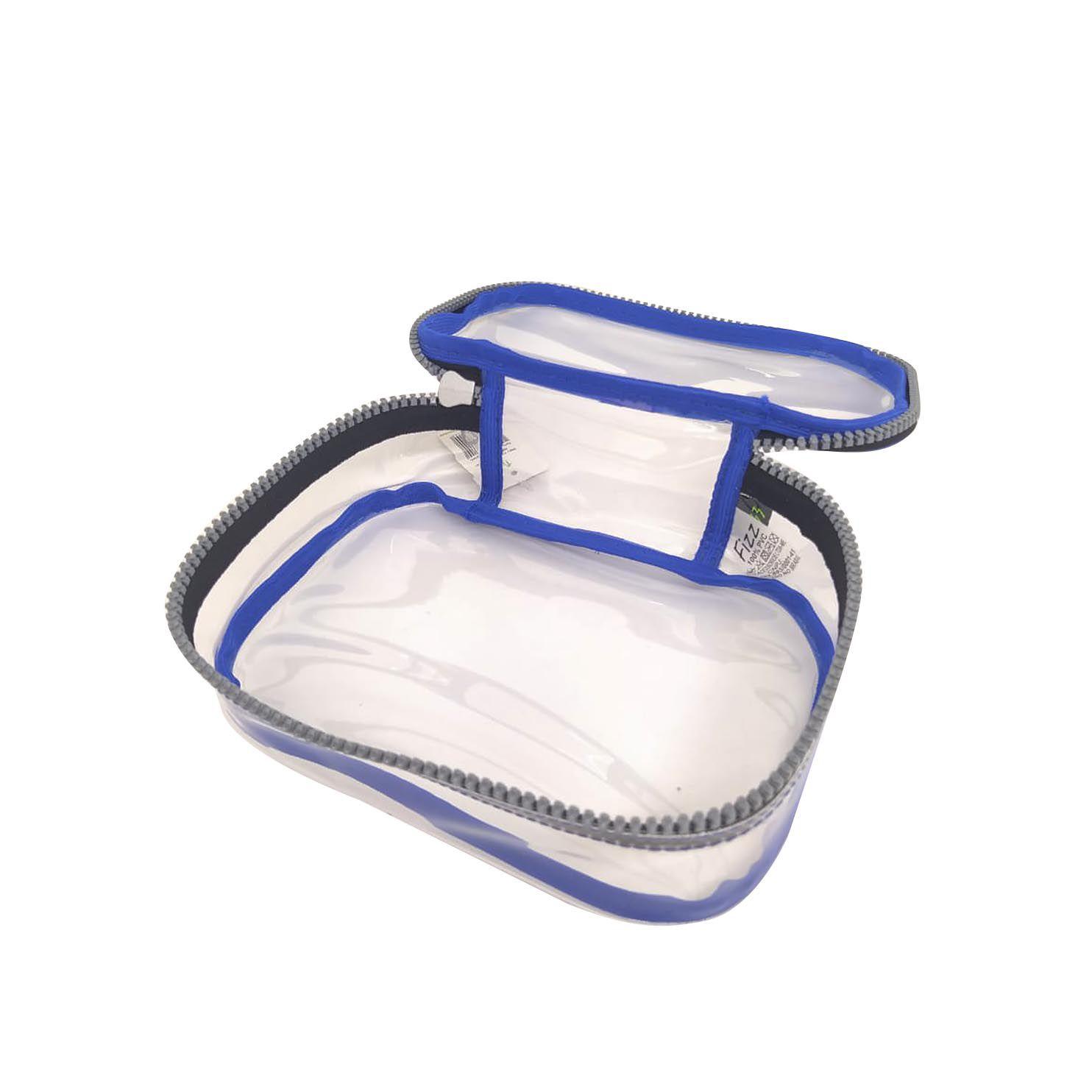 Estojo escolar box azul transparente Fizz