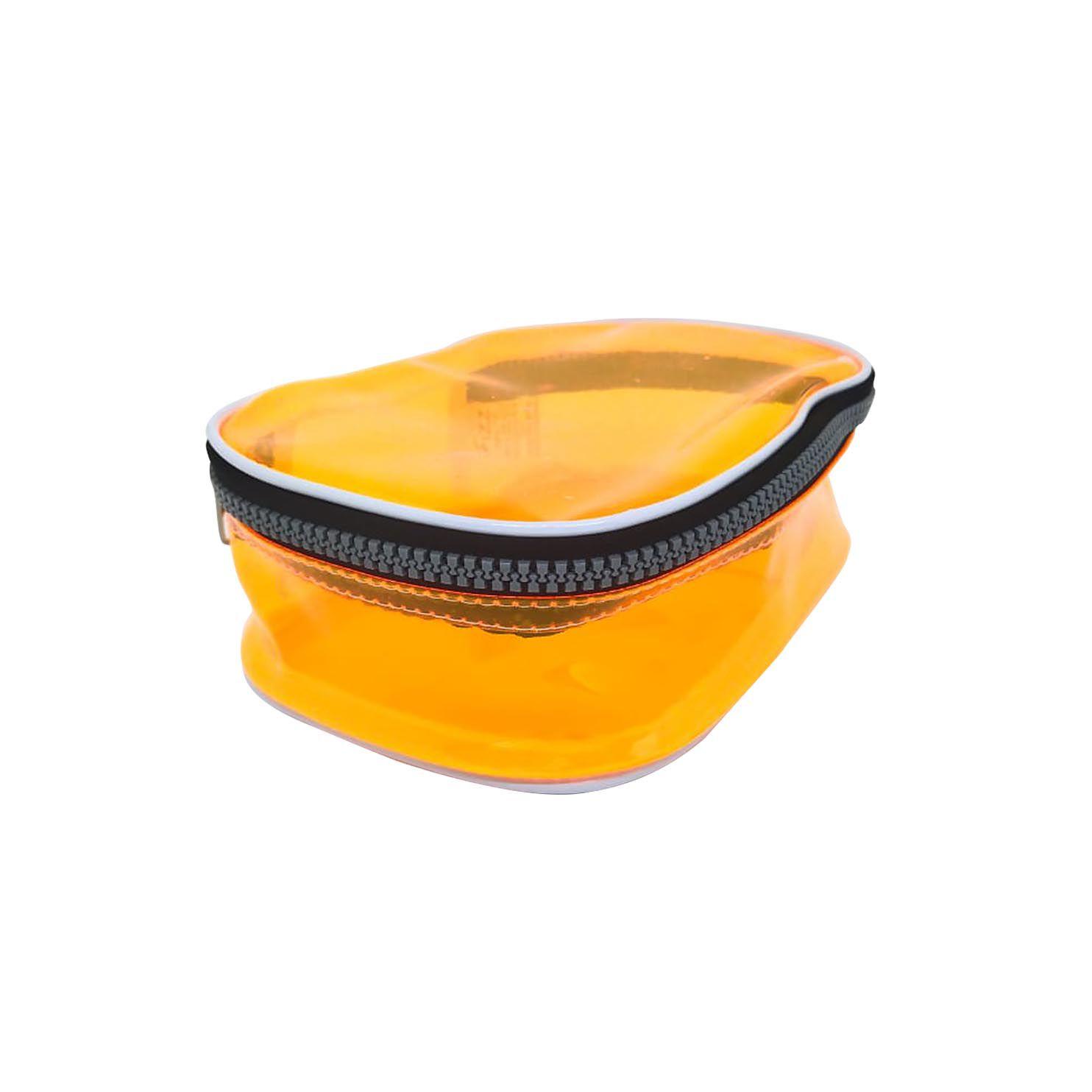 Estojo escolar box laranja neon transparente Fizz