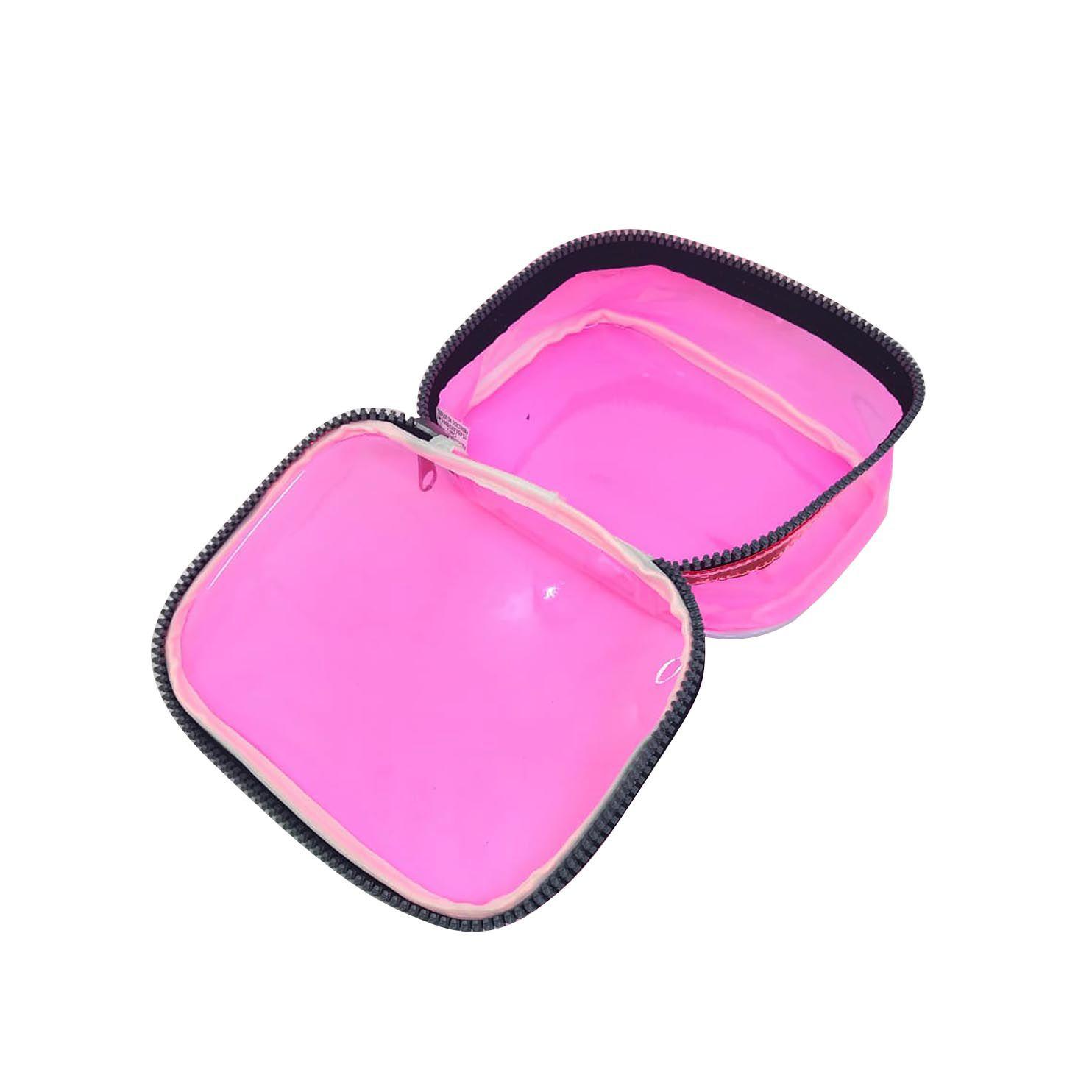 Estojo escolar box rosa neon transparente Fizz