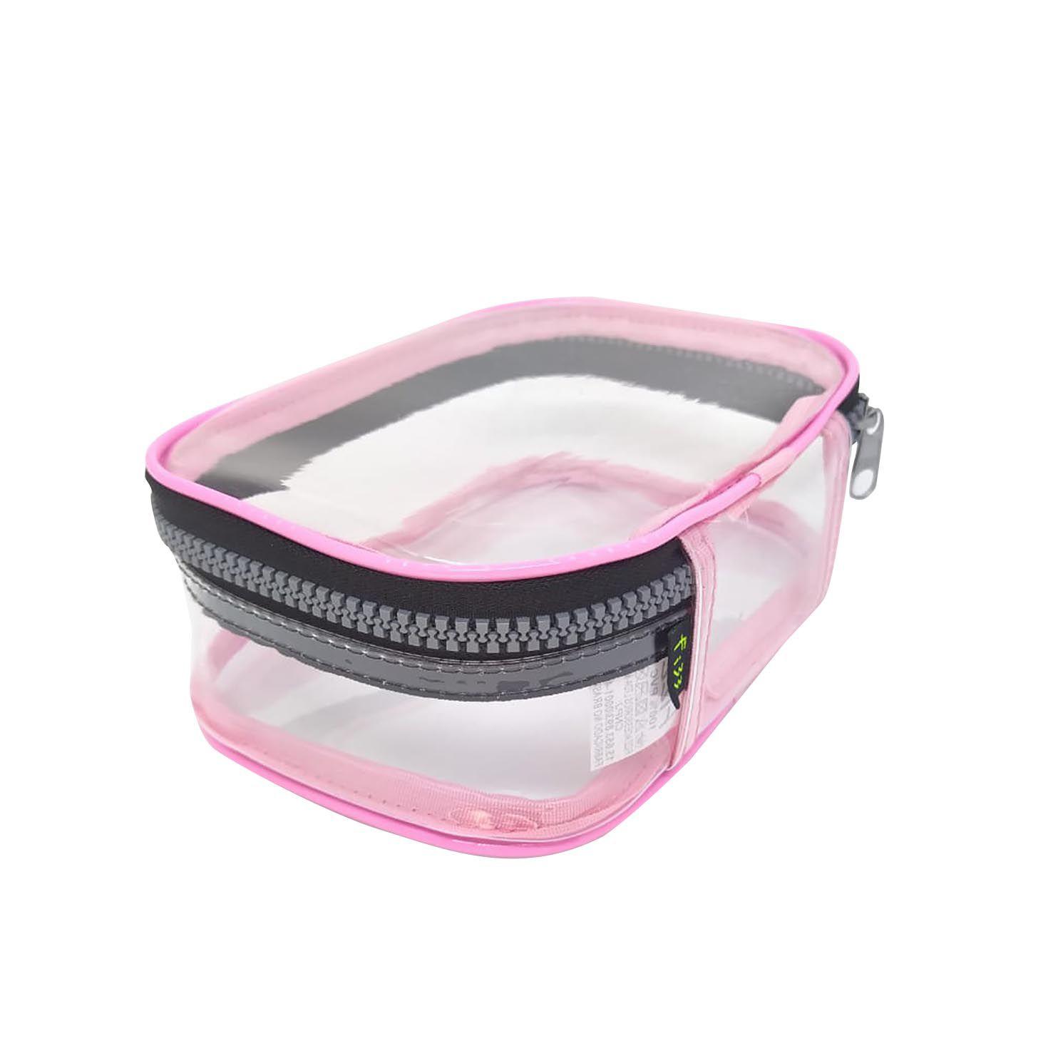 Estojo escolar box rosa transparente Fizz