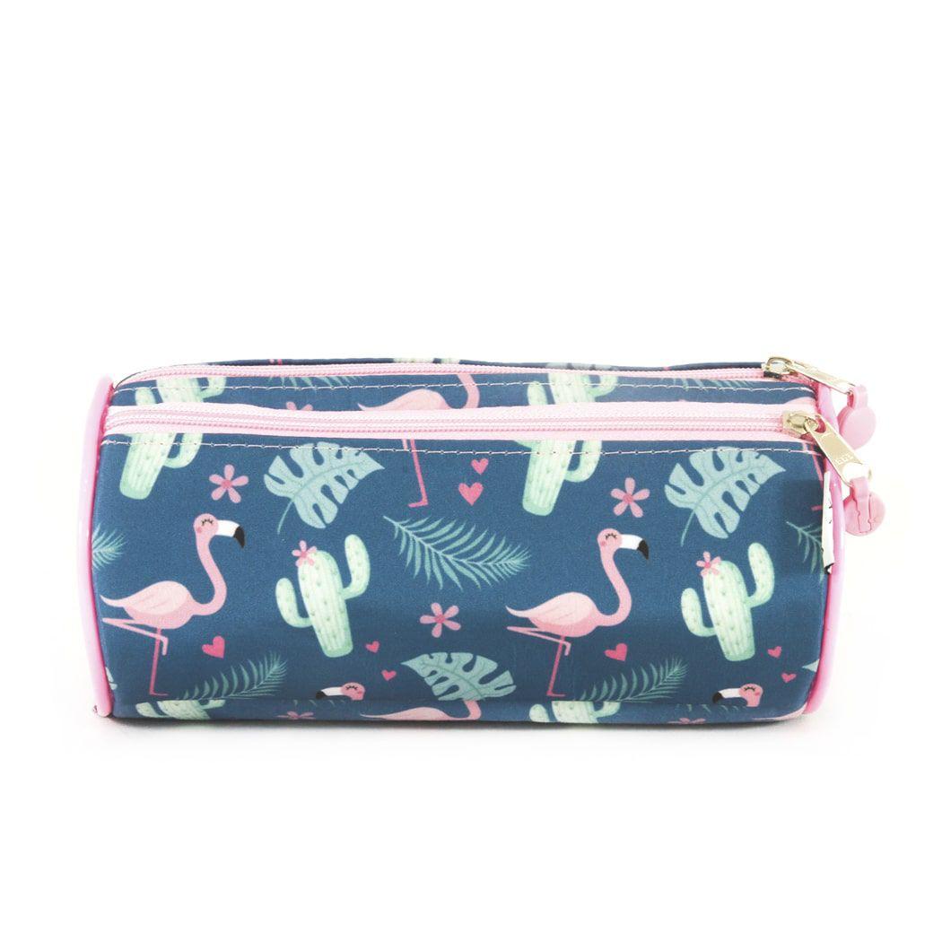 Estojo escolar triplo tubular flamingo Sabra