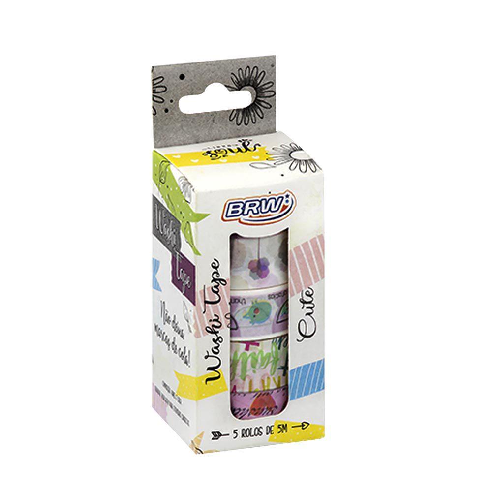 Fita adesiva Washi Tape cute 5 un Brw