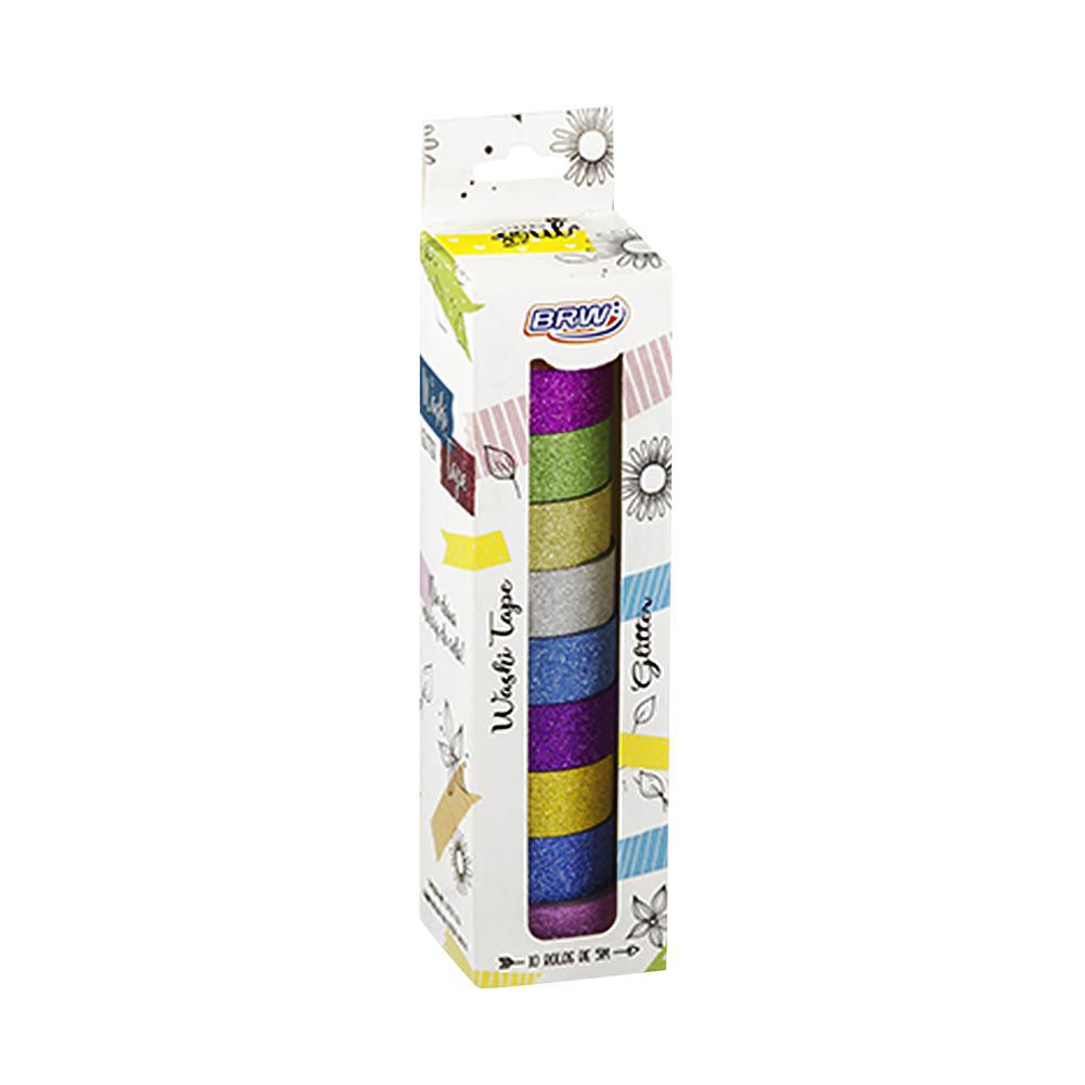 Fita adesiva Washi Tape glitter 10 un Brw