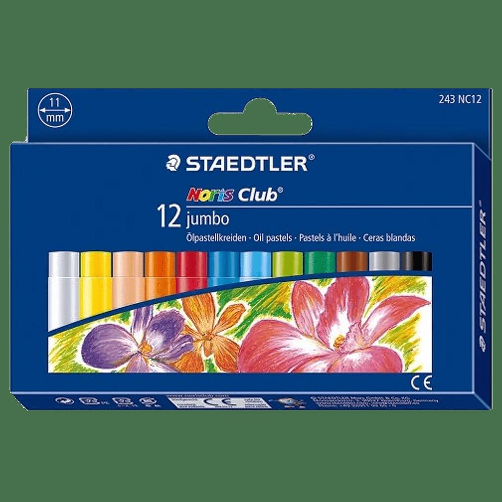 Giz pastel oleoso 12 cores jumbo Staedtler