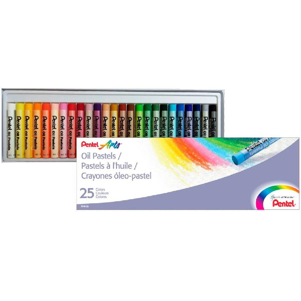 Giz pastel oleoso 25 cores Pentel
