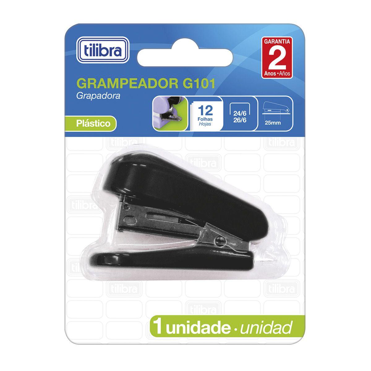 Grampeador mini para 12 folhas preto G101 Tilibra