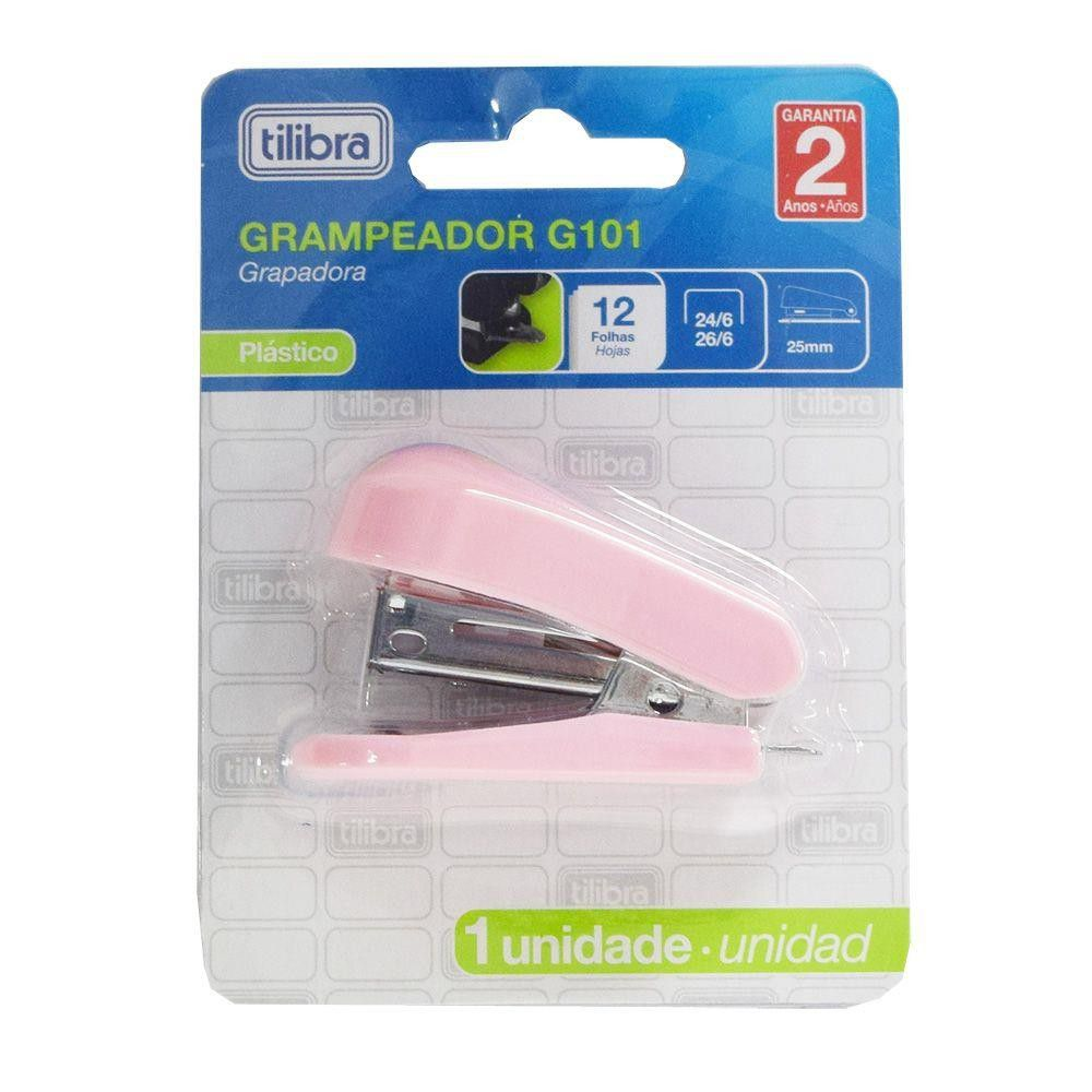 Grampeador mini para 12 folhas rosa claro G101 Tilibra