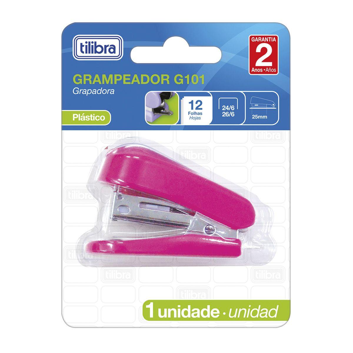 Grampeador mini para 12 folhas rosa G101 Tilibra
