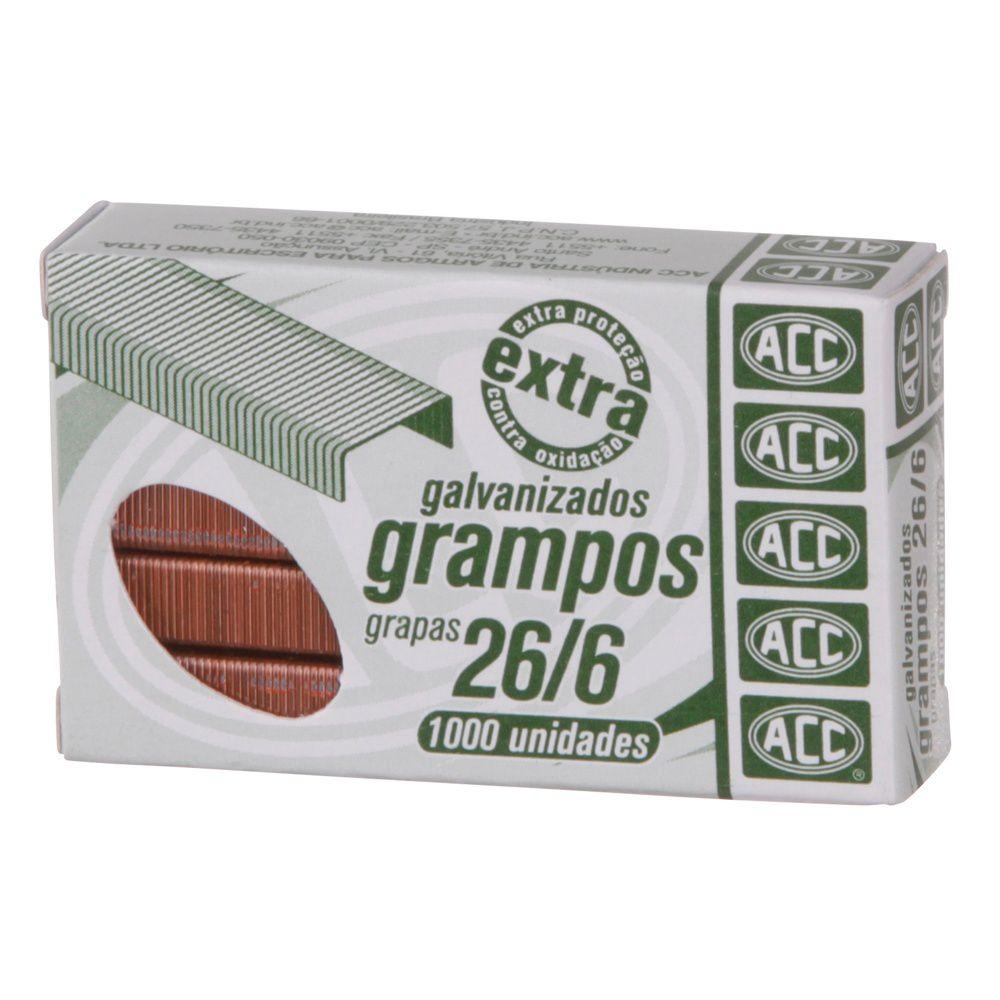 Grampo grampeador 26/6 cobreado 1000 un Acc