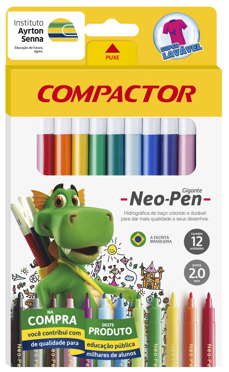 Hidrográfica 12 cores Neo Pen Gigante Compactor