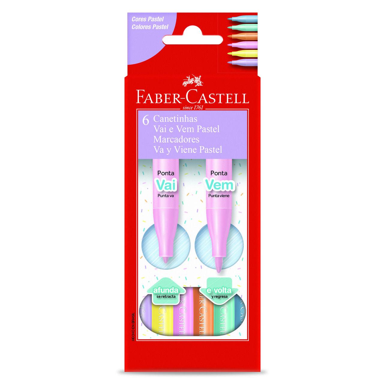Hidrográfica 6 cores pastel VAI E VEM Faber-Castell