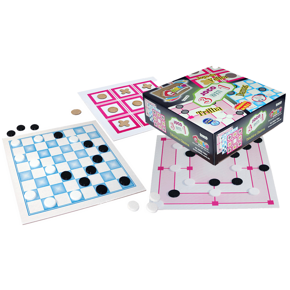 Jogo tabuleiro 3 em 1 Clássicos Carlu
