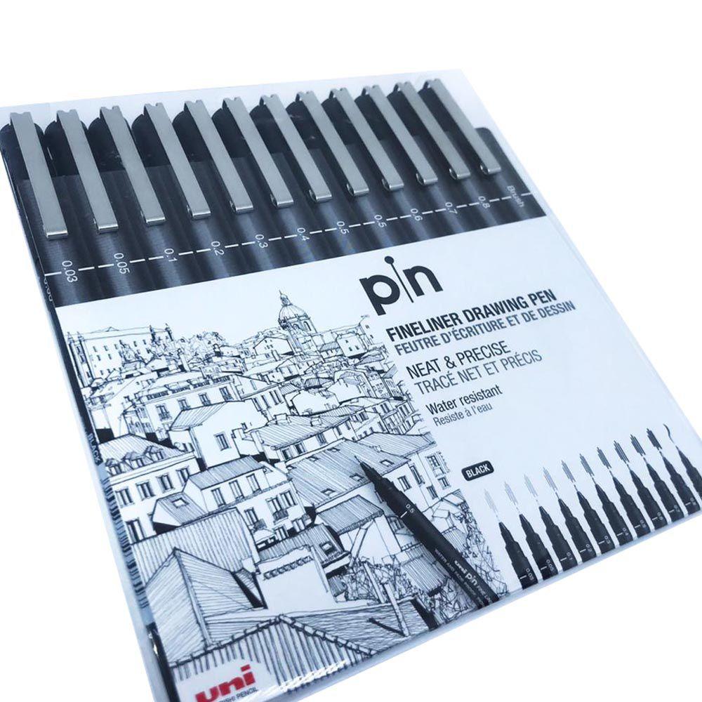 Kit 12 canetas preto UNI PIN Cis