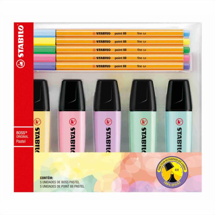 Kit 5 marca texto pastel BOSS + 5 canetas pastel POINT 88 Stabilo