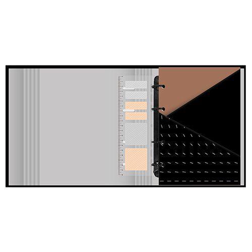 Kit Caderno argolado 190 fls  + Caderneta Maxi Noir Pena Ótima