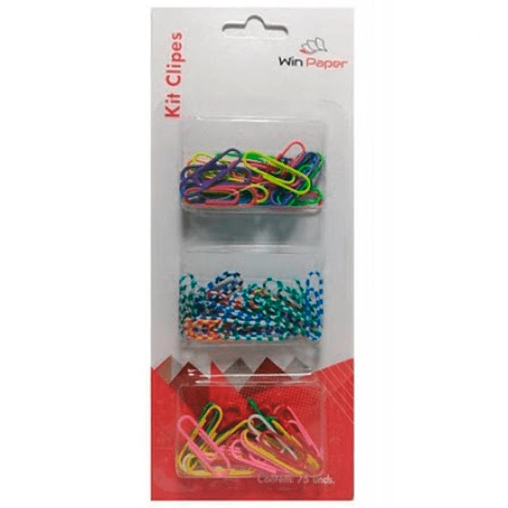 Kit clips 3 modelos colorido 75 un WinPaper