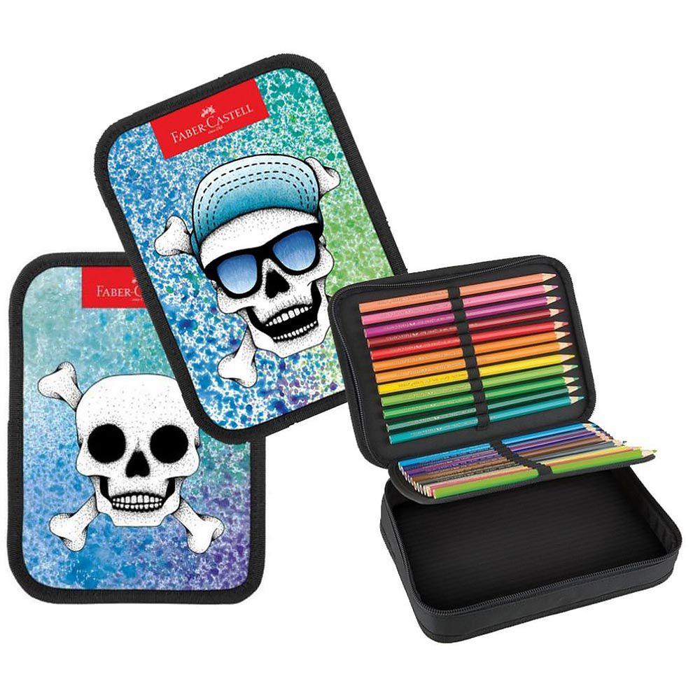 Kit lápis de cor 24 cores + estojo box caveira 3D Faber-Castell