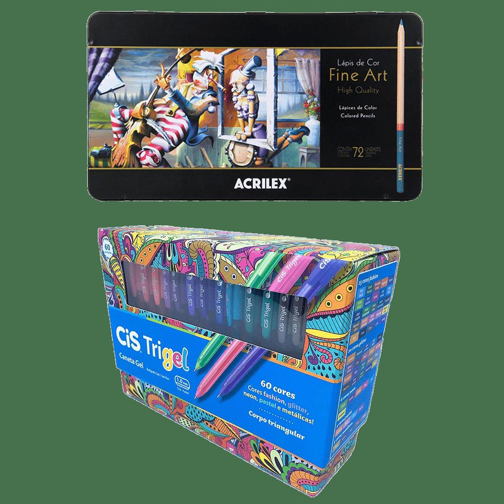 Kit lápis de cor 72 cores Fine Art + Caneta 60 cores Trigel
